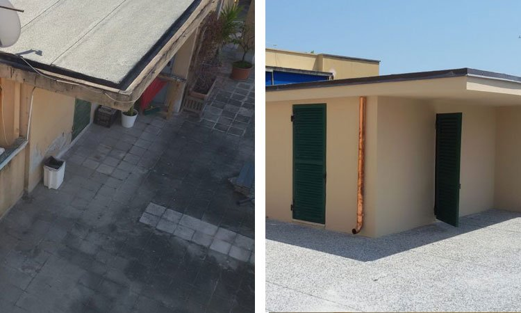 Terrazzo copertura con pavimento galleggiante